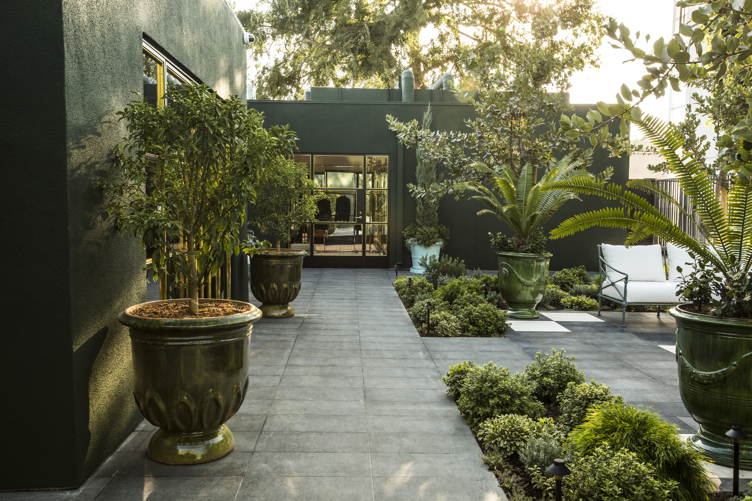 The garden at the new Balmain store on Melrose Place in Los Angeles.
