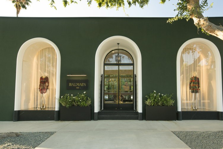 Exterior of the new Balmain store on Melrose Place in Los Angeles.