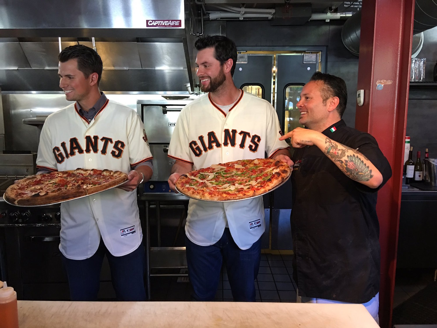 Joe Panik, Brandon Belt, and Tony Gemignani