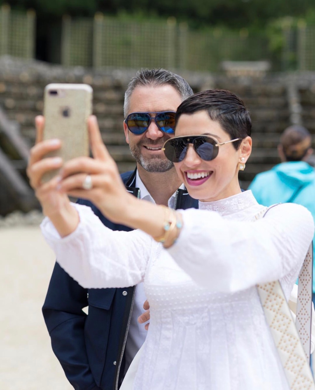 Chrisa Pappas and Dean Sioukas pose for a selfie at Versaille