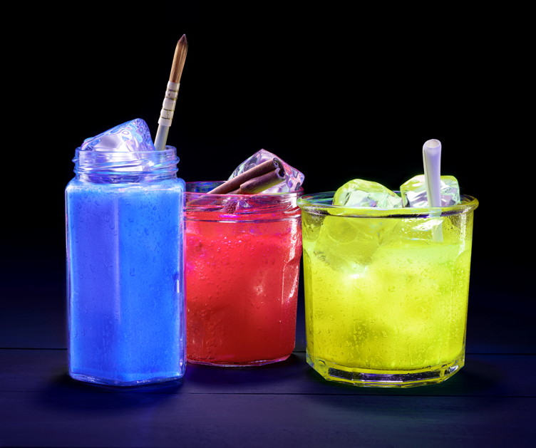 Hennessy JonOne blue, red and yellow primary-colored cocktails