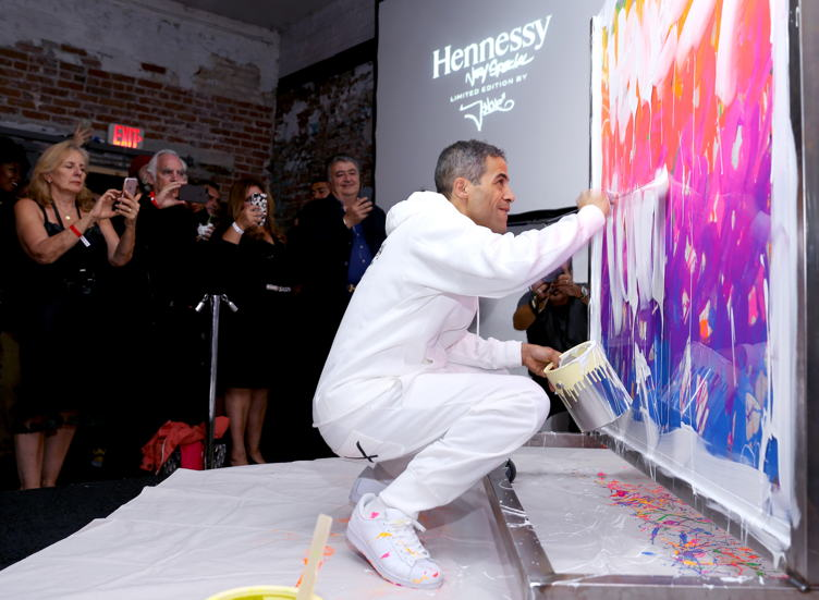 JonOne brings color to the mix as he live paints at the Hennessy V.S Limited Edition by JonOne launch party at Monk Space on July 14