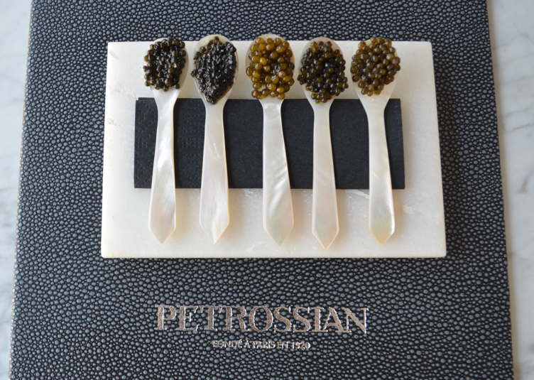 A caviar flight at Petrossian