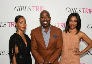 "ATLANTA, GA - JULY 11:  (L-R) Jada Pinkett Smith, Will Packer, Regina Hall at ""Girls Trip"" Atlanta special screening at SCADshow on July 11, 2017 in Atlanta, Georgia.  (Photo by Paras Griffin/Getty Images for Universal Pictures)"