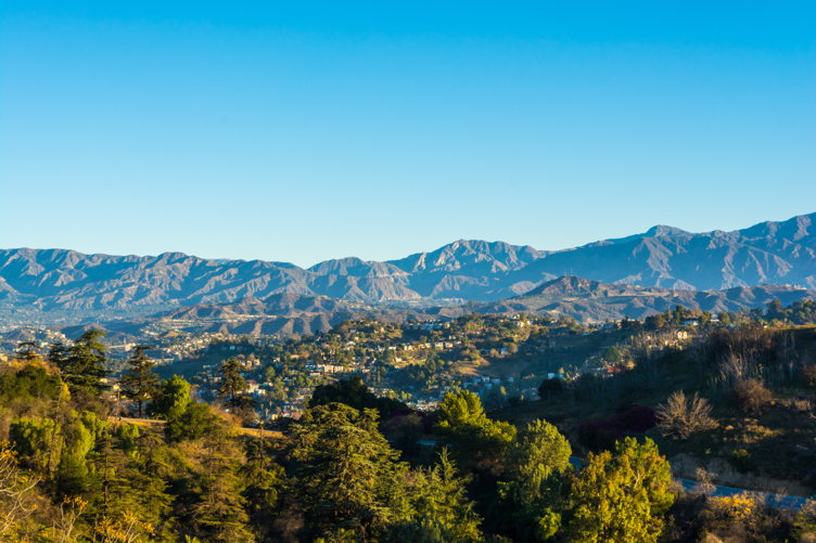 A view of the San Gabriel Mountains from Elysian Park