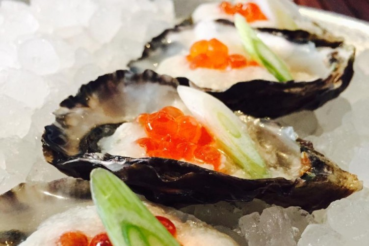 Morro Bay Pacific gold oysters, whipped bacon dashi, smoked salmon roe.