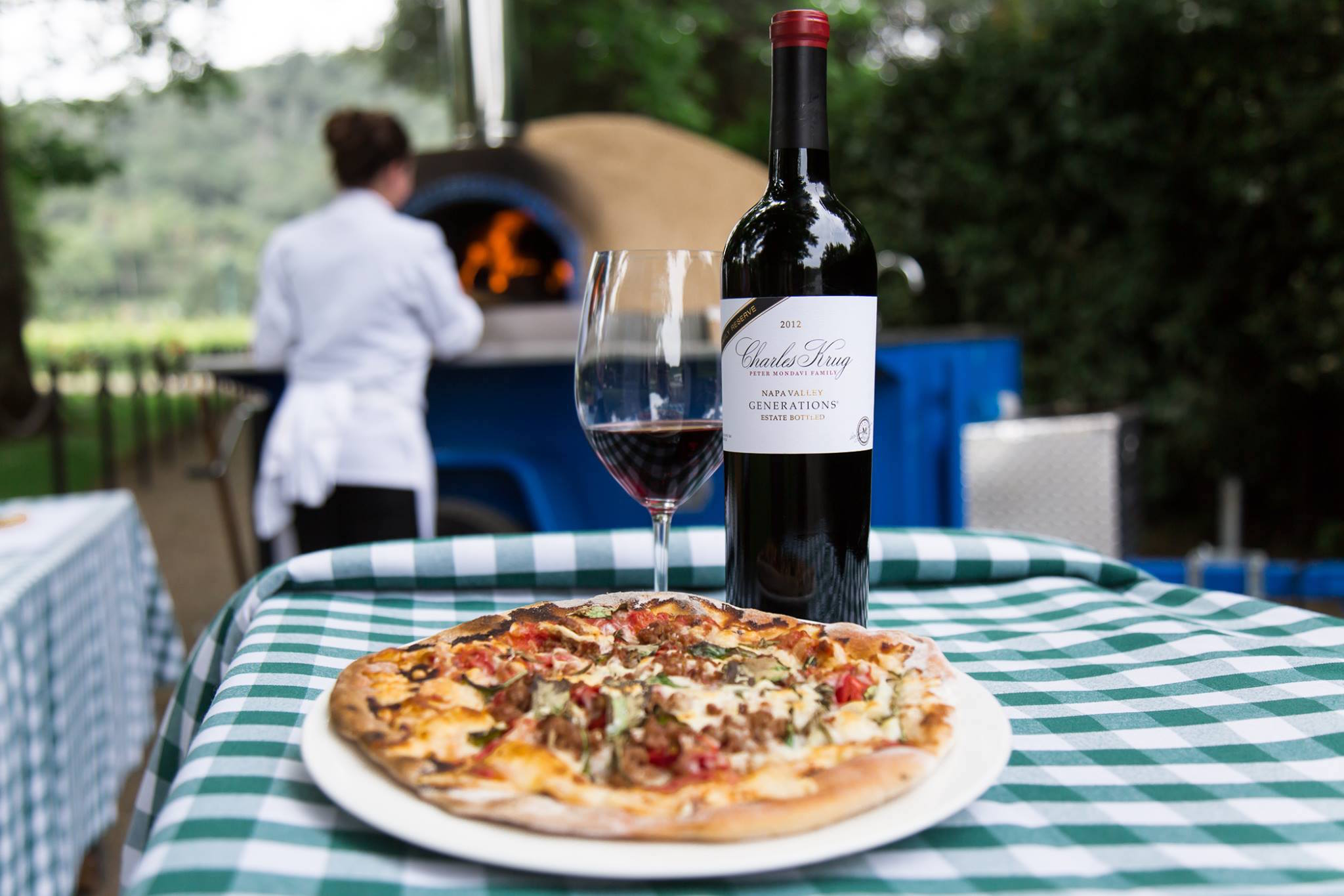 Pizza and red wine are on the menu at Charles Krug's harvest party