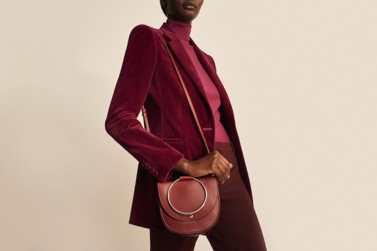 Velvet Power Jacket in Electric Pink, Silk Combo Turtleneck Shirt in Electric Pink , Stretch Velvet Tux Pant in Electric Pink, Whitney Bag in Brick Red Leather