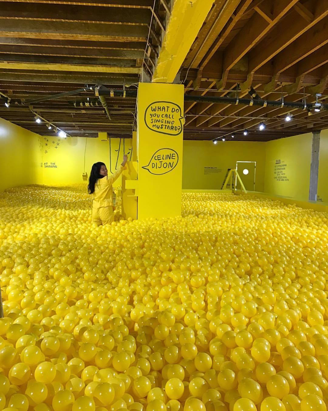 The yellow ball room at the Color Factory