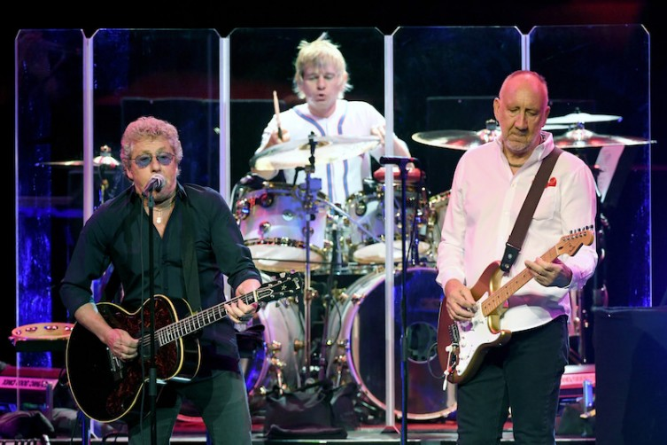 From left, singer Roger Daltrey, touring drummer Zak Starkey and guitarist Pete Townshend of The Who perform on the first night of the band's residency at The Colosseum at Caesars .