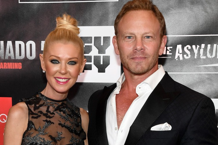 "Actress Tara Reid and actor Ian Ziering attend the premiere of ""Sharknado 5: Global Swarming"" at The Linq."
