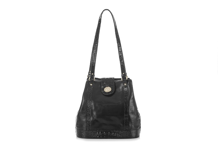 BRAHMIN_FLOWER TOTE BLACK BERKSHIRE