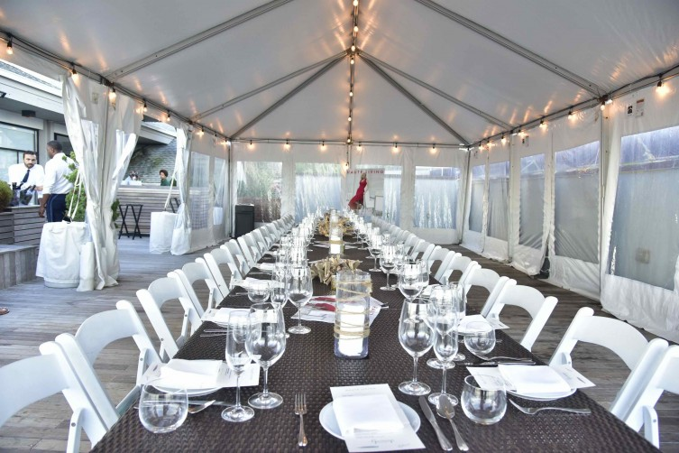 Outdoor setup at Scarpetta Beach at Gurney's Montauk Resort and Seawater Spa