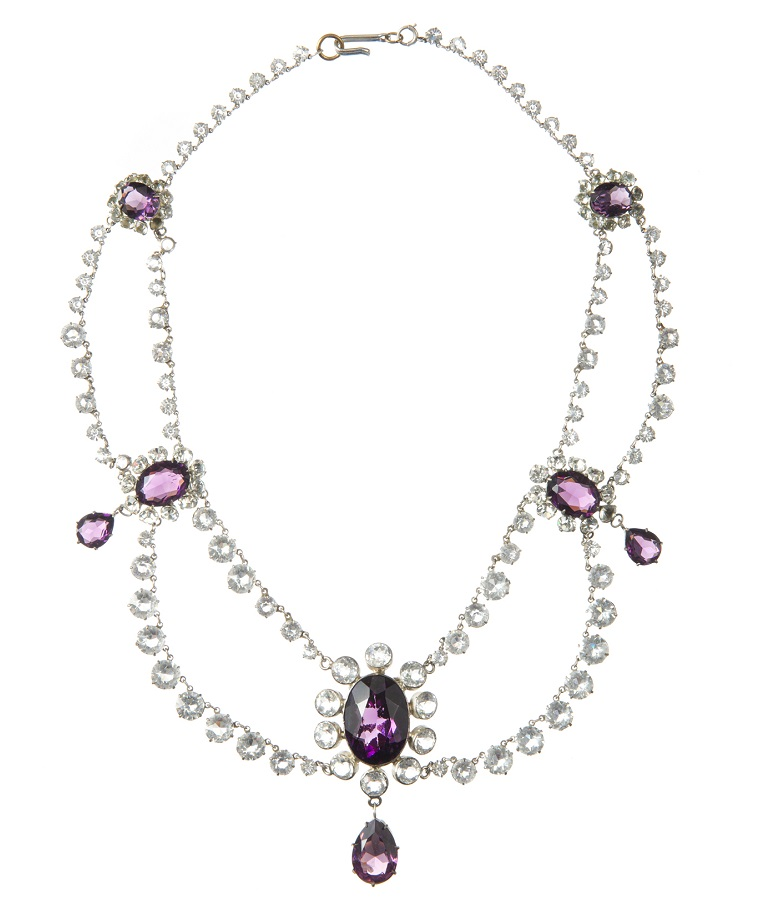 Scarlett OHara's double-stranded iridescent stone necklace in bezel setting, with eight simulated amethyst stones worn by Vivien Leigh in Gone with the Wind, MGM, 1939.