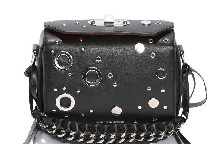 Black calf leather with antique silver-finished flat studs and eyelets