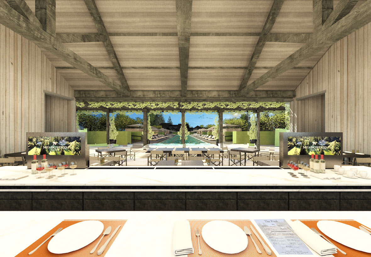 A rendering of the Pool Cafe & Bar interior