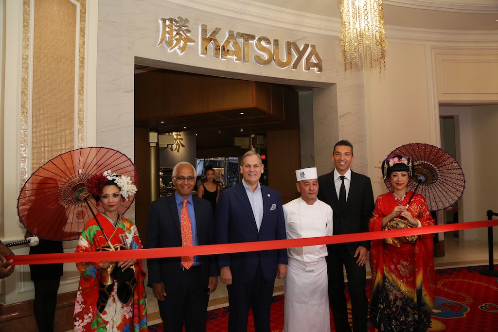 Minister of Tourism Dionisio D'Aguilar, Chef Katsuya Uechi and Sebastian Silvestri
