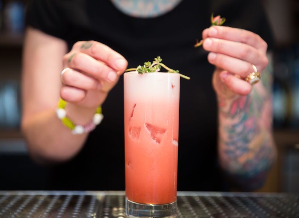 """""""The Mar Rosso has a hint of pineapple-Riesling simple syrup and Lo-Fi Gentian Amaro. The amaro includes very appealing notes of hibiscus and rose, and is a great substitute for the regular sweet vermouth that's usually used in a Negroni,"""" Siebert explains."""