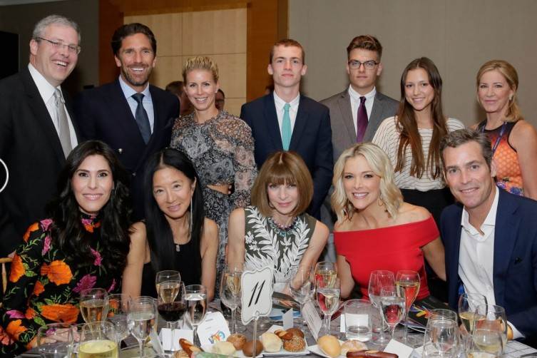 (Standing, back row, left to right) USTA Foundation Vice President and Board Member Y. David Scharf, Henrik Lundqvist, Therese Lundqvist, Luke Wintour, Chris Dodsworth, Josephine Becker and Chris Evert, (seated, front row, left to right) Cheryl Scharf, Vera Wang, Anna Wintour, Megyn Kelly and Douglas Brunt.