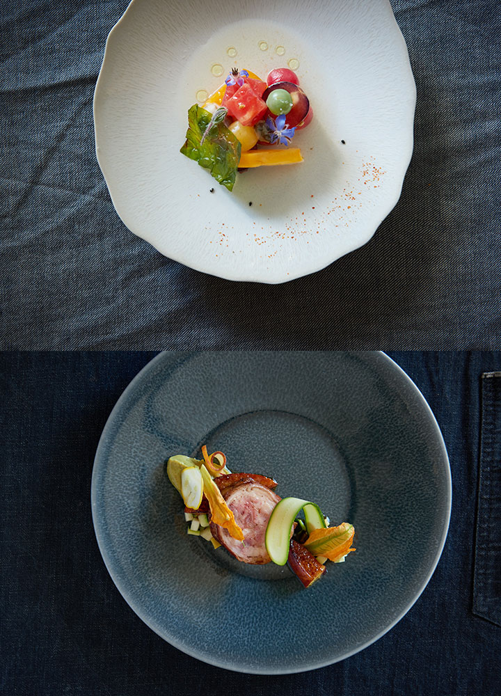 Above: a delicate salad. Below: a precise pork presentation.