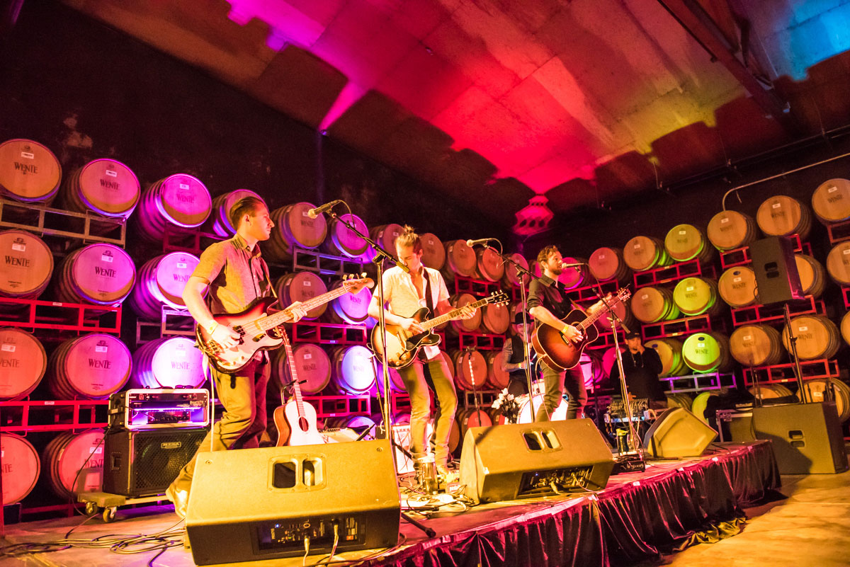 A concert in the barrel room at Wente Vineyards