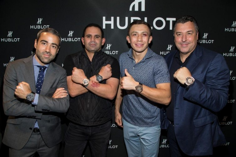 From left to right: Jean-François Sberro, Hublot of America Managing Director; Eduardo Serio, founder of The Black Jaguar-White Tiger Foundation; Gennady Golovkin.