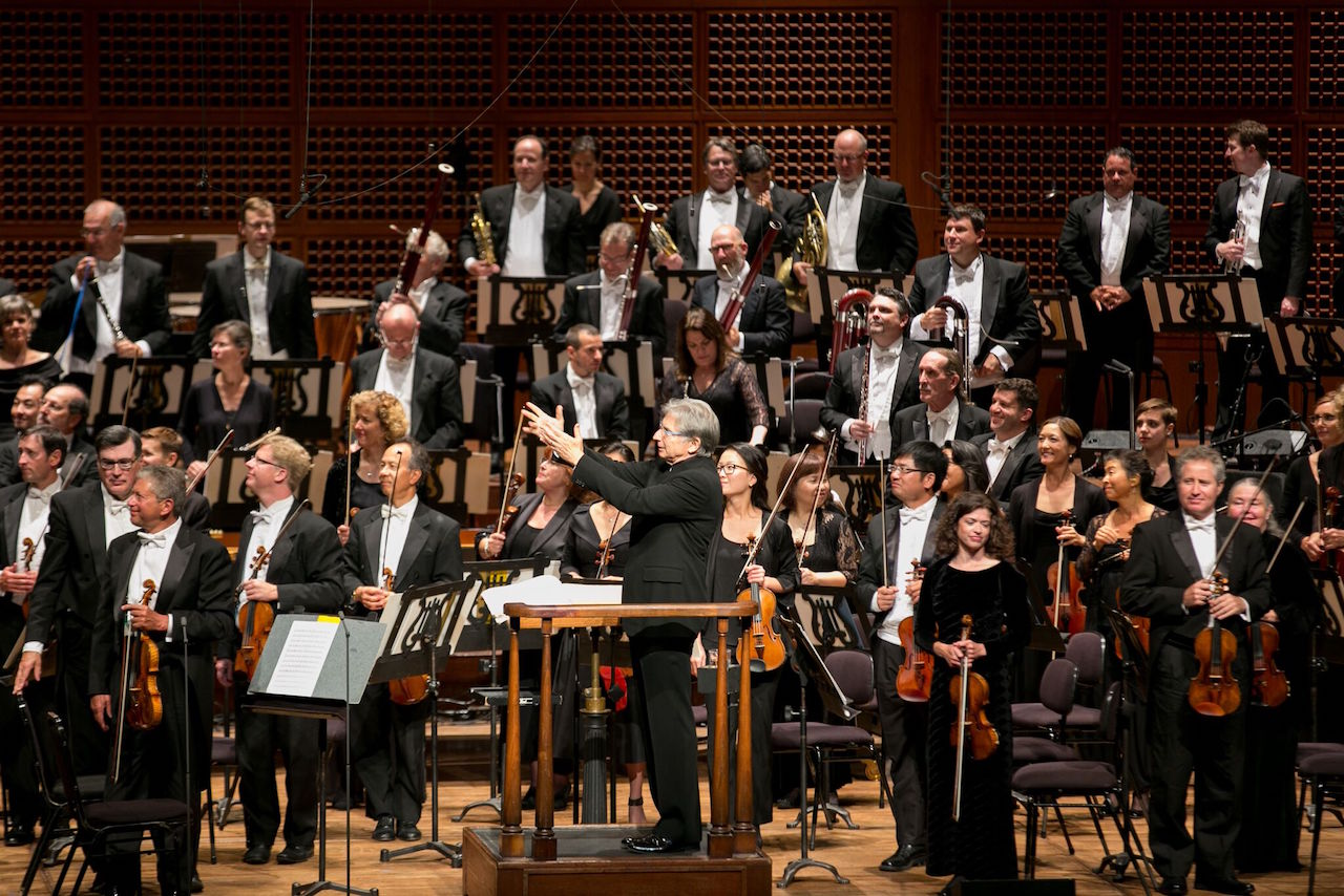 Musical director Michael Tilson Thomas conducts the 2016 Symphony Gala