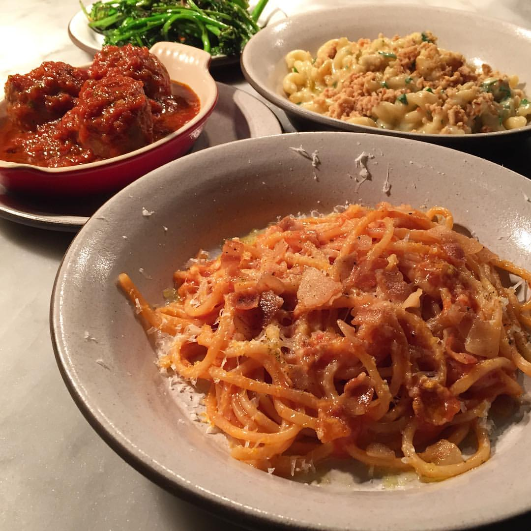 A spread of Tosca's pasta dishes