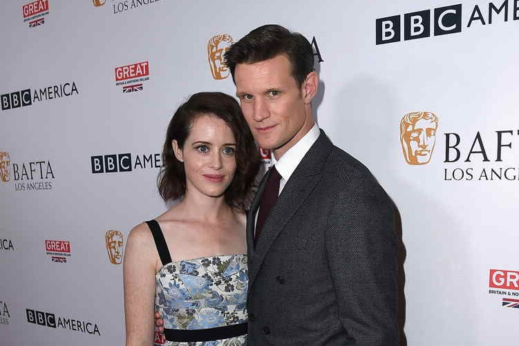 """The Crown"" stars Claire Foy (L) and Matt Smith attend the BBC America BAFTA Los Angeles TV Tea Party 2017 at The Beverly Hilton Hotel on September 16"