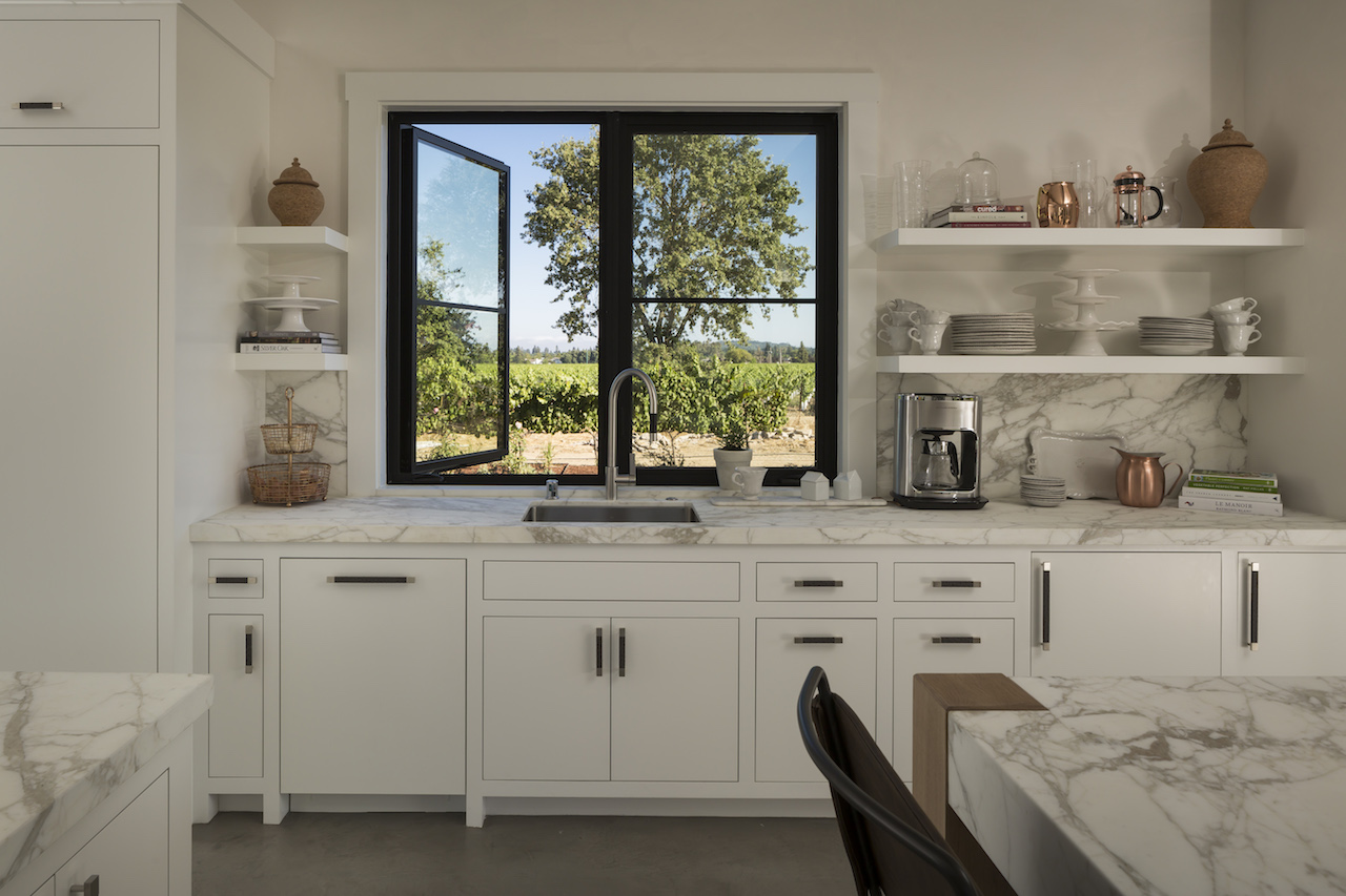 The kitchen at Cunningham has vineyard views