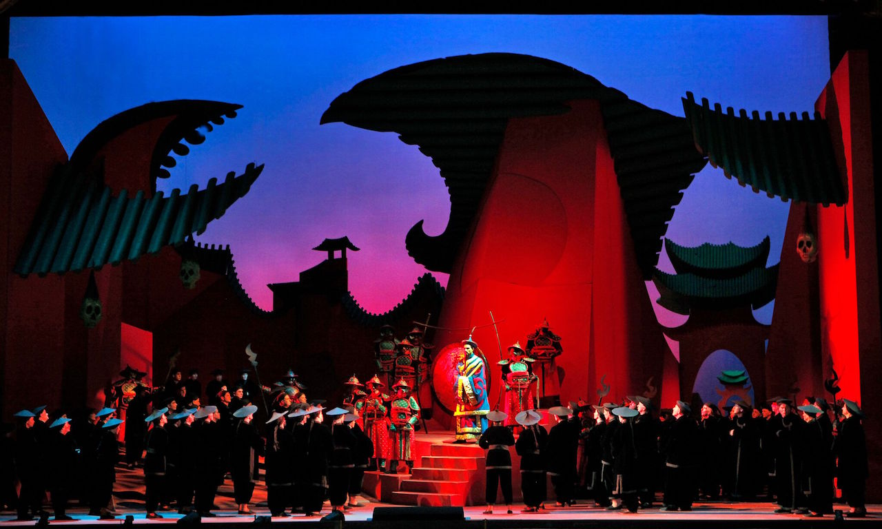 "Puccini's ""Turandot."" Production by visual artist David Hockney. Puccini's Turandot; production by visual artist David Hockney."