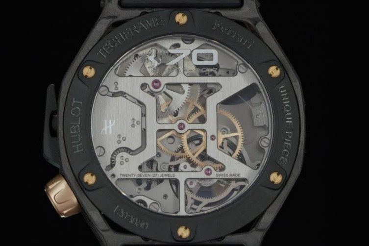 Hublot Techframe Ferrari 70 Years Tourbillon Chronograph in PEEK Carbon & King Gold - unique piece-4