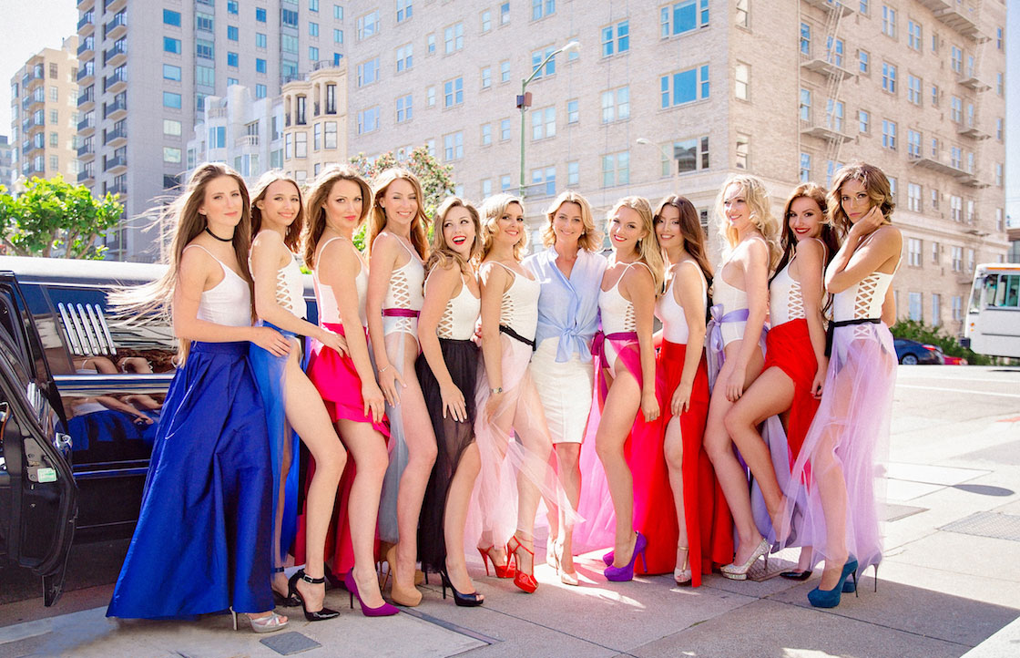 The contestants for Miss Russian San Francisco 2017 pose with the founder Karina Zakharov, center in white skirt and perwinkle top.
