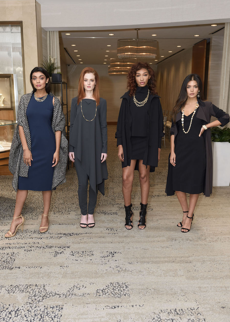 Models Ghazal Gill, Moana Holden, Imani Walton and Leah Morris wear M2057 and Marco Bicego