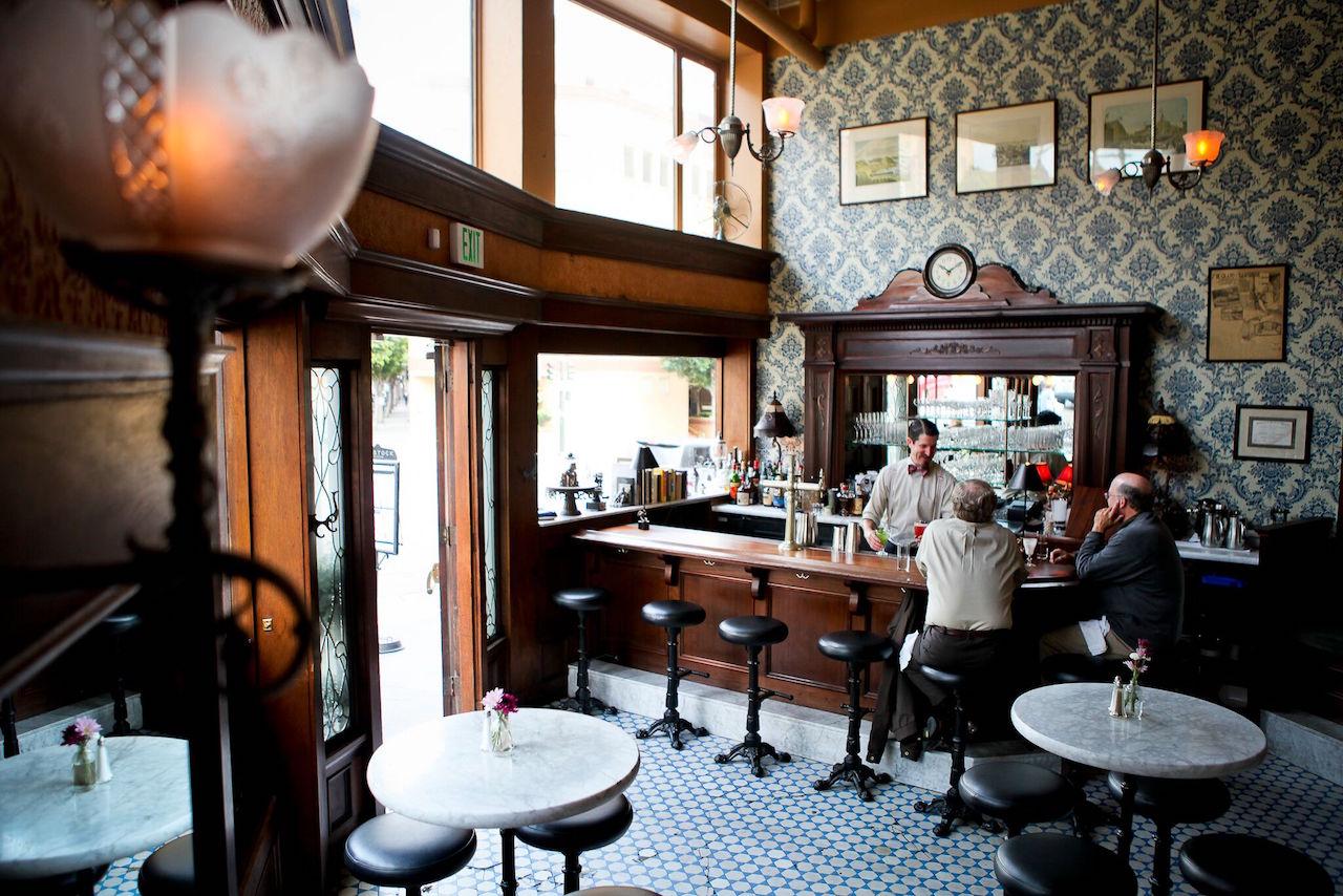 The bar at Comstock Saloon