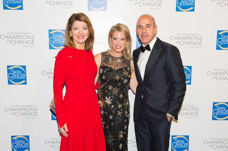 Dermatologist and Senior Vice President of The Skin Cancer Foundation Dr. Elizabeth K. Hale, Today Show host Matt Lauer and CBS This Morning anchor, Norah O'Donnell.