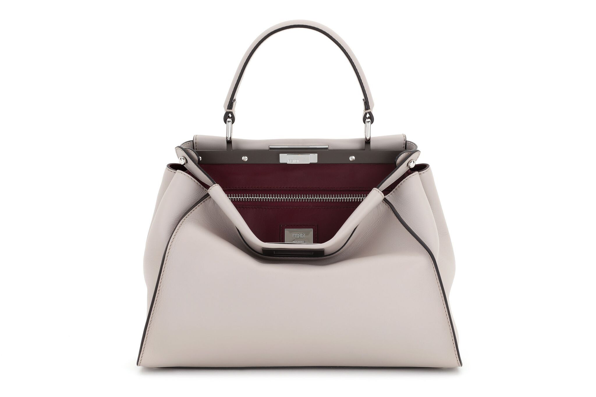 Fendi's regular Peekaboo purse in grey powder calf leather