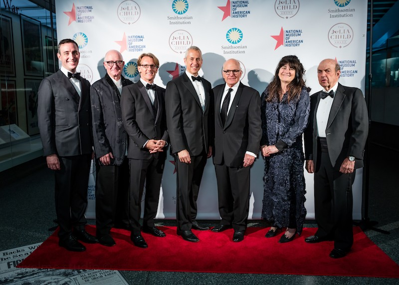 Danny Meyer alongside the evening's featured speakers (L to R: Will Guidera, Nick Lander, Eric Spivey, Danny Meyer, John Gray, Ruth Reichl, Calvin Trillin)