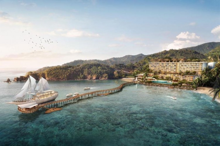 Artist Impression of AYANA Komodo Resort, Waecicu Beach and the AYANA Lako'dia ship