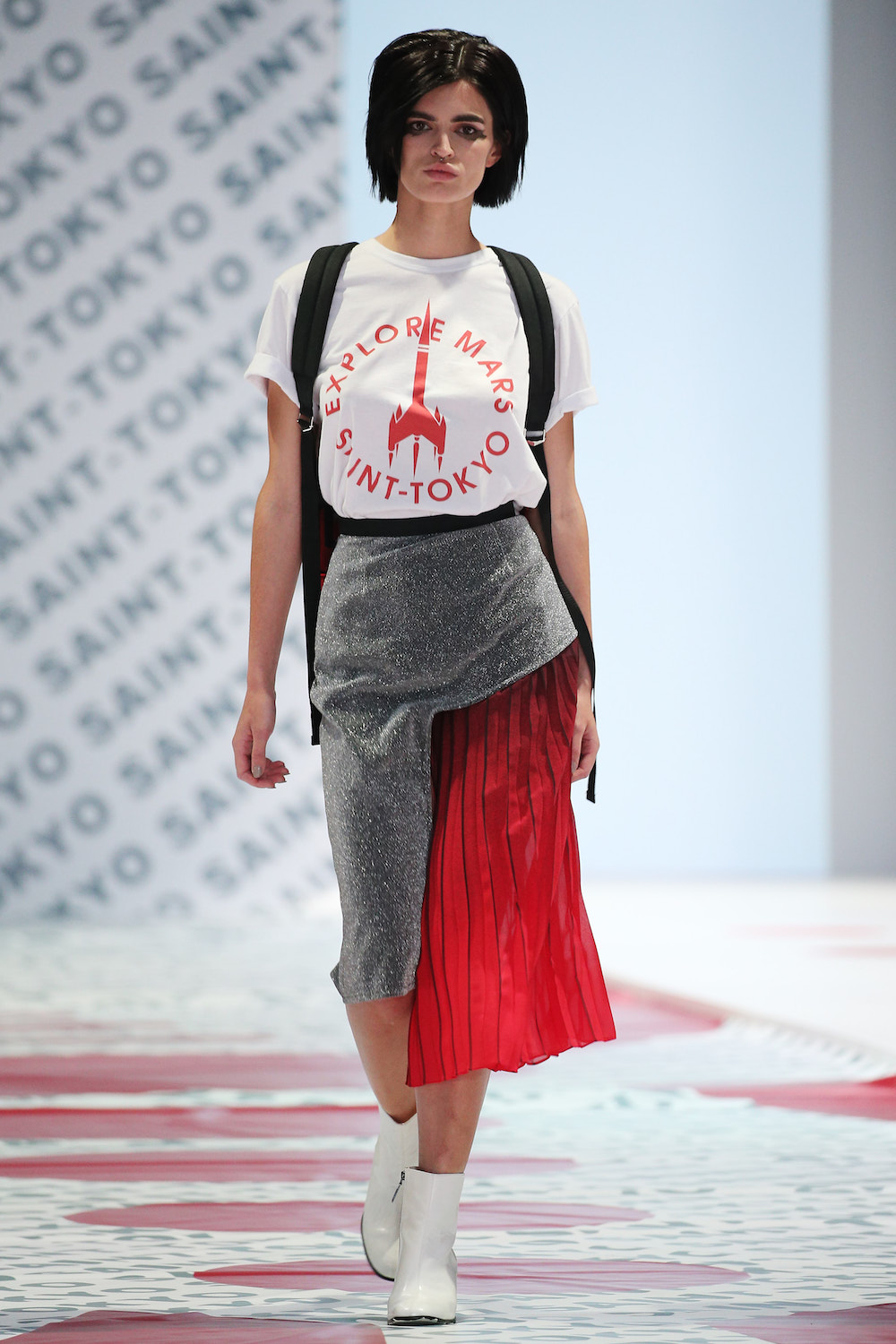 Model Sasha in a look that supports a campaign to fight AIDS in Russia