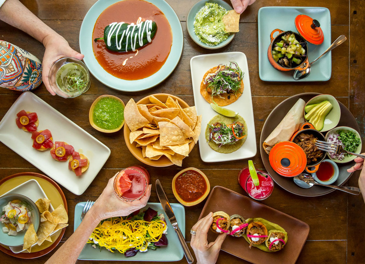 A spread of Mexican food at Copita