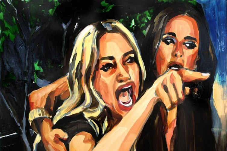 """Taylor Armstrong Pointing at Dee Dee"" 18in x 24in acrylic on panel painting by Laura Collins"