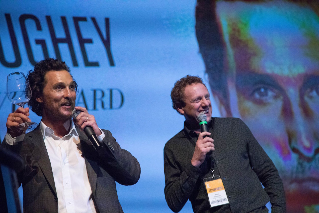 Matthew McConaughey and festival co-founder Marc Lhormer make a toast at NVFF 2016