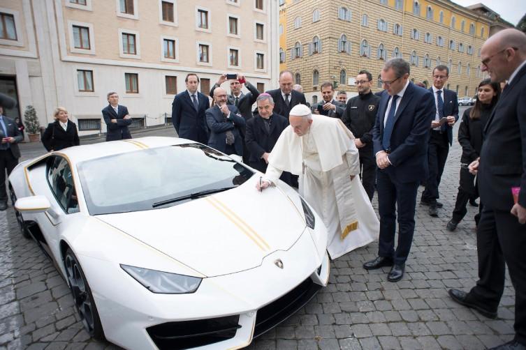 Pope Francis Receives And Blesses $200k Lamborghini haute living tita carra