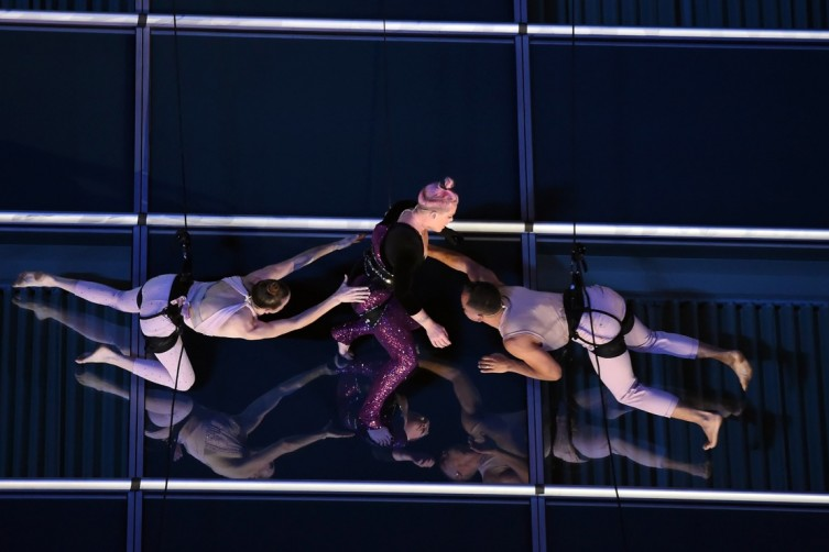 P!nk performs on the side of the JW Marriott Los Angeles