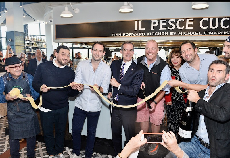 (L-R) Nicola Farinetti, Alex Saper, Eric Garcetti, Mario Batali, Valentina Gambelunghe, Adam Saper and Dino Borri attend Eataly Los Angeles Grand Opening Celebration