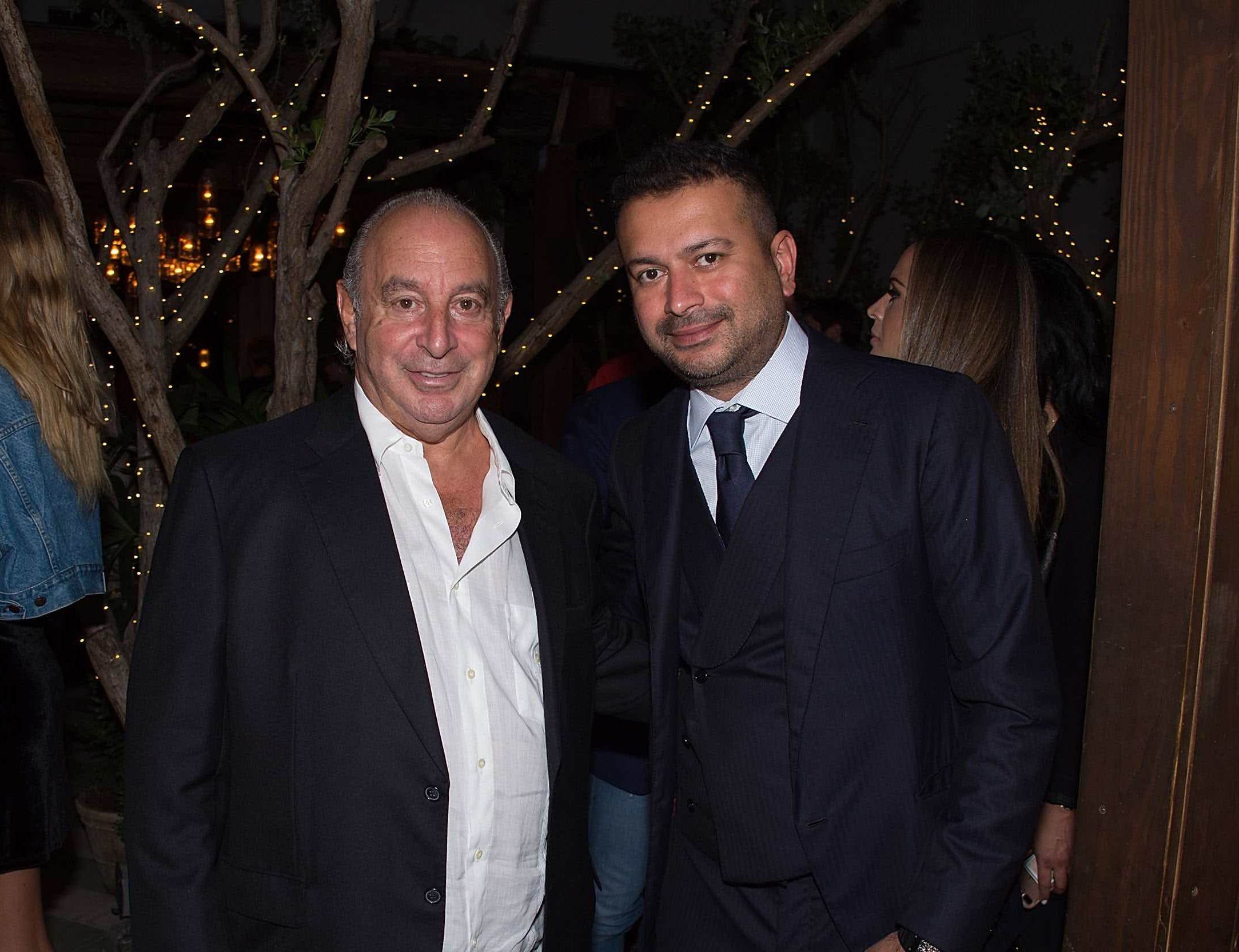 MIAMI BEACH, FL - NOVEMBER 18: Sir Philip Green and Kamal Hotchandani attend Sir Philip Green Hosts Dinner In Celebration Of Topshop Topman Miami Store Opening at Cecconi's at Soho Beach House on November 18, 2017 in Miami Beach, Florida.