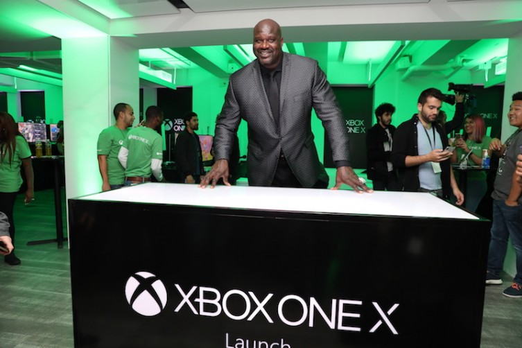 """Shaquille """"Shaq"""" O'neal at World's Most Powerful Console Xbox One X Worldwide Launch at the Fifth Ave. Microsoft Store"""