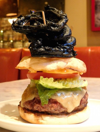 Burger with Black Onion Rings