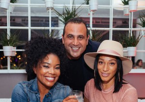 Gabrielle Union, Sam Nazarian and Alexis Stoudemire enjoying a private #tasteofsbe dinner at Leynia at Delano in Miami Beach